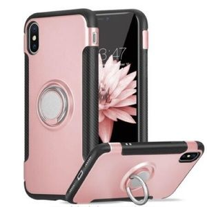 Gold iPhone 7/8 Phone Case w Ring Holder Kickstand